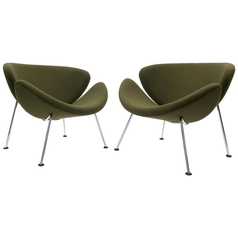 orange slice chair wood folding covers pair of pierre paulin lounge chairs in green for artifort sale