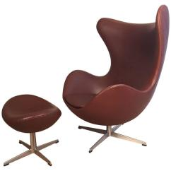 Jacobsen Egg Chair Leather Karlstad Cover Early Arne With Ottoman For Fritz Hansen At 1stdibs Sale