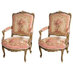 Louis XVI Style 3 Piece Gilded Salon Set For Sale at 1stdibs
