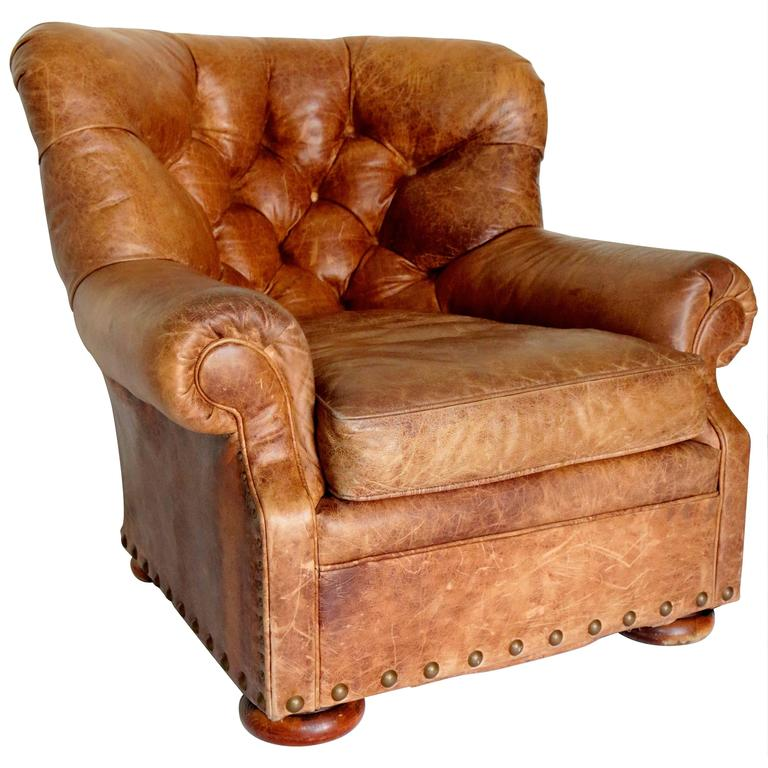 ralph lauren chair home theater chairs dimensions distressed writers leather club at 1stdibs for sale