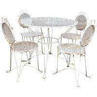 Mid-Century Wrought Iron Outdoor Patio Dining Set For Sale ...