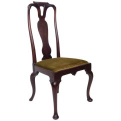 Queen Ann Chairs Wheelchair Transport Early 18th Century Anne Walnut Side Chair In Olive Velvet For Sale
