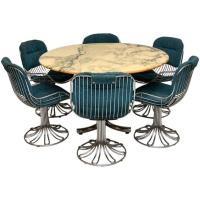 Retro Marble and Chrome Dining Table with Six Chrome ...