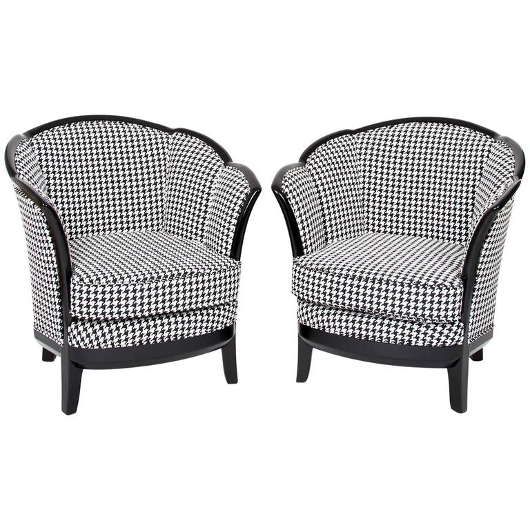 white upholstered chairs bedroom chair under 50 two french art deco club france 1930s in black fabric upholstery for