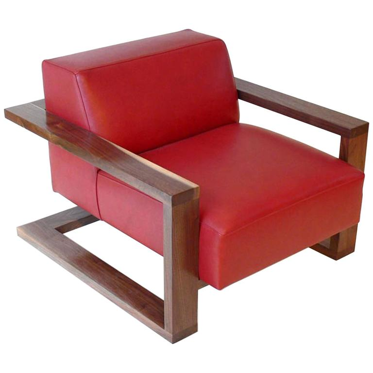 red lounge chair round table for 6 chairs caribou in leather with walnut hardwood exposed frame sale