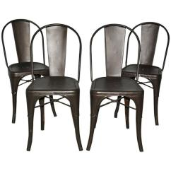 Industrial Bistro Chairs Folding Chair Covers Target Four Tolix Style Metal For Sale At 1stdibs