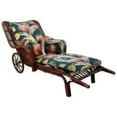 Wicker Chaise Lounge Chairs Outdoor Amazon Stools Antique Stick Chair With Barkcloth Fabric For Sale