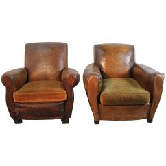 Art Deco Style Club Chairs Step 2 Table And Pair Of French Leather At 1stdibs