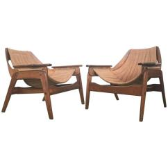 Sling Chairs For Sale Cracker Barrel Chair Cushions Mid Century Walnut By Leathercrafter At 1stdibs