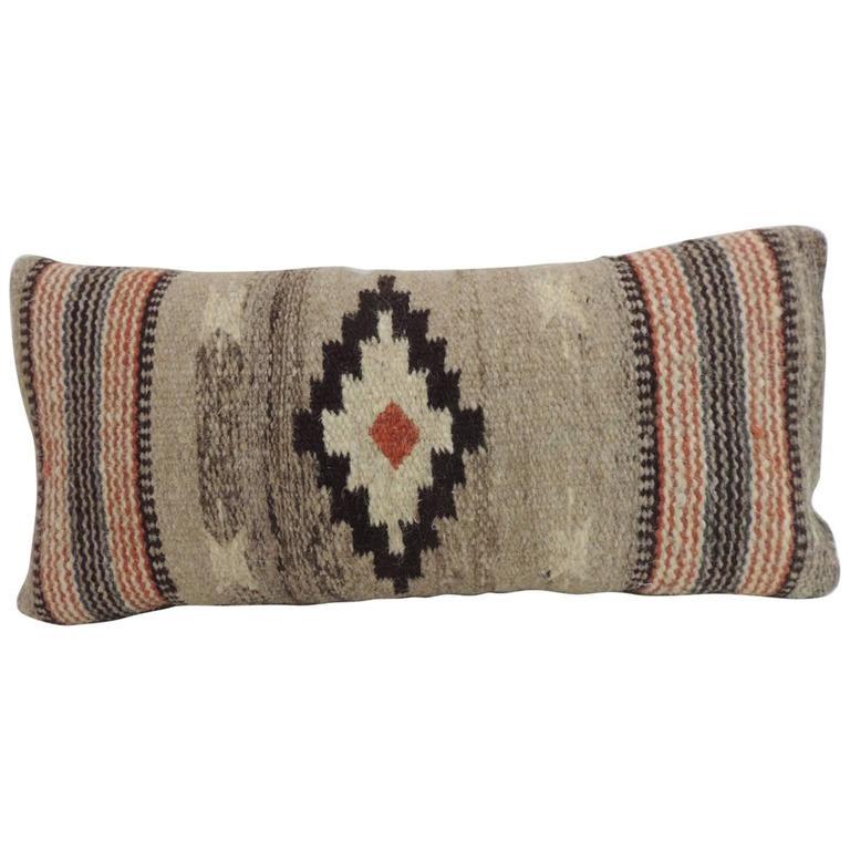 Vintage Petite Southwestern Woven Wool Decorative Lumbar