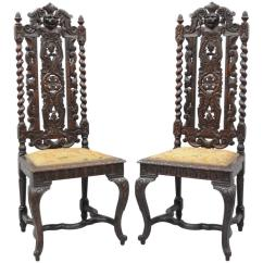 High Backed Throne Chair For Sit Stand Desk Pair Of Renaissance Revival Figural Lion Barley Twist Tall Chairs Sale