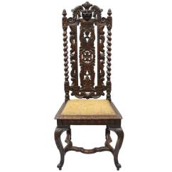 Barley Twist Chair Adams Manufacturing Adirondack Chairs Renaissance Revival Figural Lion Carved Oak Tall Throne Hall At 1stdibs