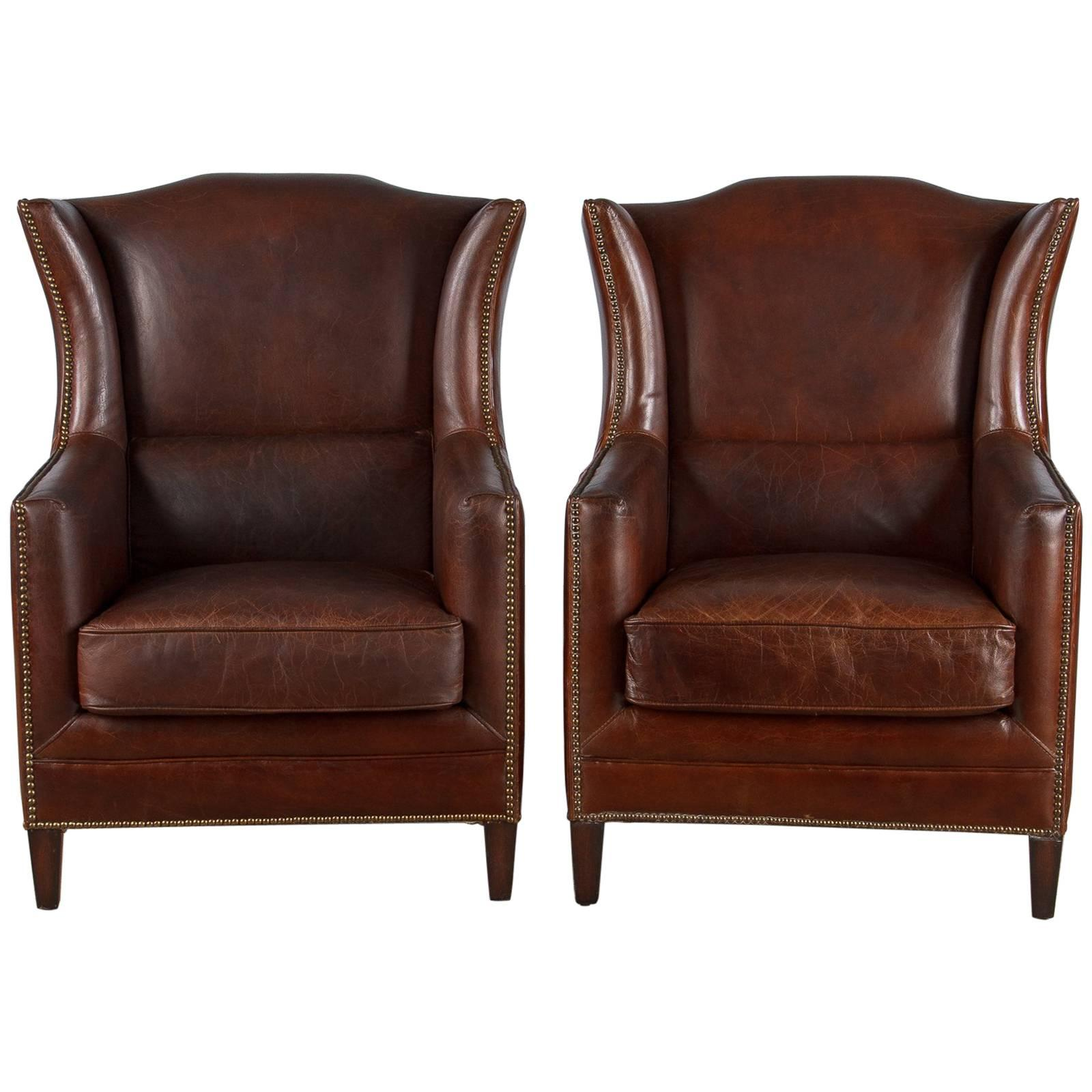 small leather club chairs hanging clear plastic 26 for sale on 1stdibs pair of french wingback armchairs 1980s