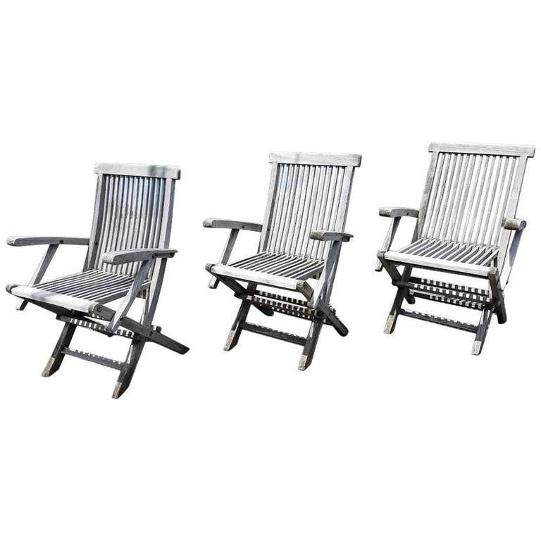 teak folding chair modern black leather recliner set of three vintage chairs by andrew for sale at 1stdibs