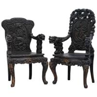 Pair 19th Century Qing Dynasty Carved Rosewood Chinese ...