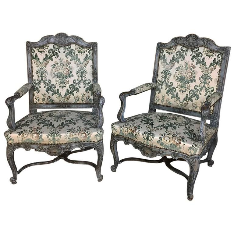 arm chairs for sale mongolian faux fur chair cushion pair of 19th century french louis xiv painted armchairs at