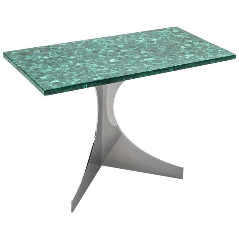 Malachite Side Table by N. Effront, France, 1970 For Sale