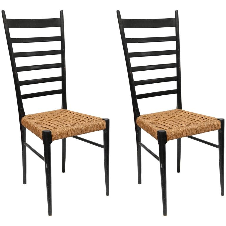 Pair of Gio Ponti Ladder Back Chairs Italy 1950s at 1stdibs