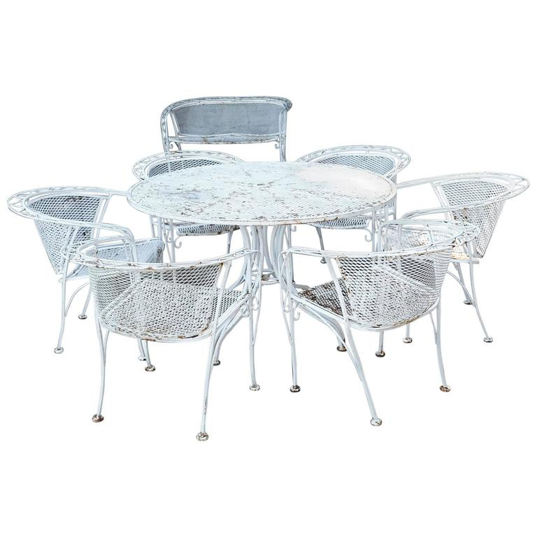 mcm salterini style iron patio set six chairs loveseat and dining table