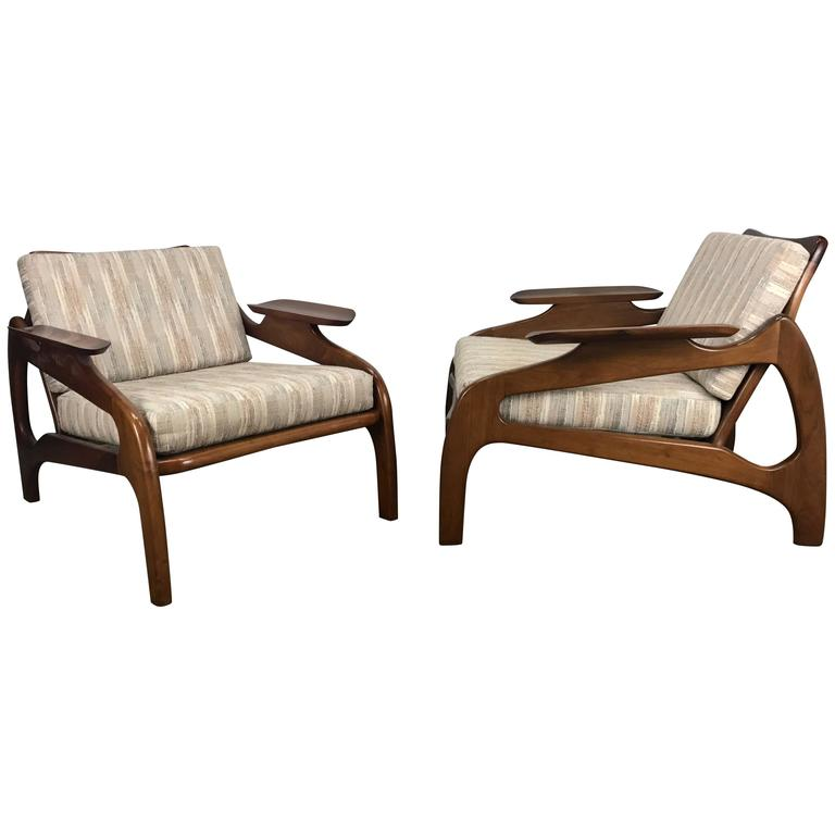 adrian pearsall rocking chair wedding covers preston pair of model 1209c walnut lounge chairs by craft associates for sale