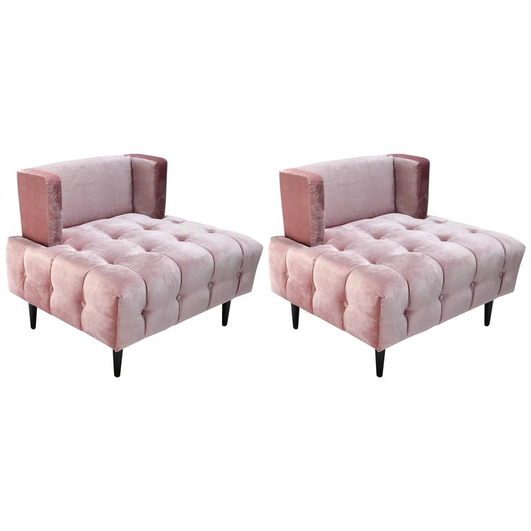 velvet tufted chair memory foam pair of custom pink silk lounge chairs for sale at 1stdibs