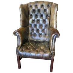 White Leather Wingback Chair Folding Types Tufted With Mahogany Legs For Sale At 1stdibs