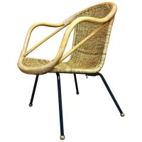 Italian Mid-Century Rattan Patio Chair, Restored For Sale ...