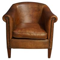 Vintage Cognac Leather Club Chair For Sale at 1stdibs