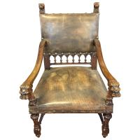 Antique Leather Carved Italian Throne Chair For Sale at ...