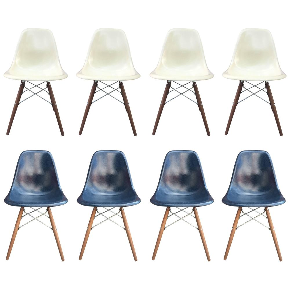 medium resolution of eight herman miller eames dining chairs in navy and parchment for sale at 1stdibs