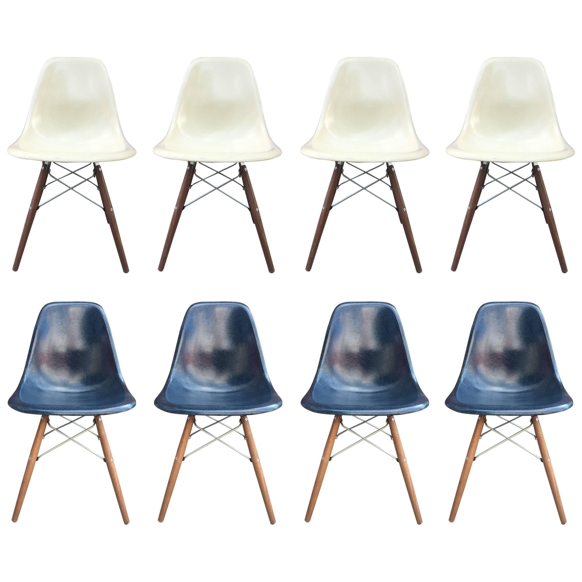 hight resolution of eight herman miller eames dining chairs in navy and parchment for sale at 1stdibs