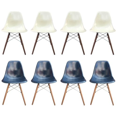 small resolution of eight herman miller eames dining chairs in navy and parchment for sale at 1stdibs