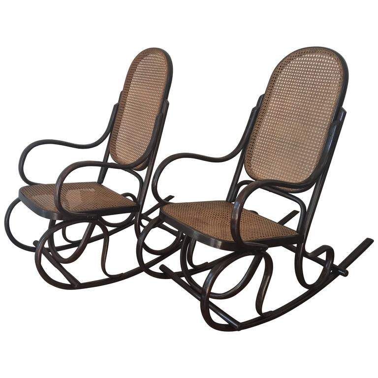 rocking chair cane turquoise armless pair of bentwood chairs with seat and back for sale at