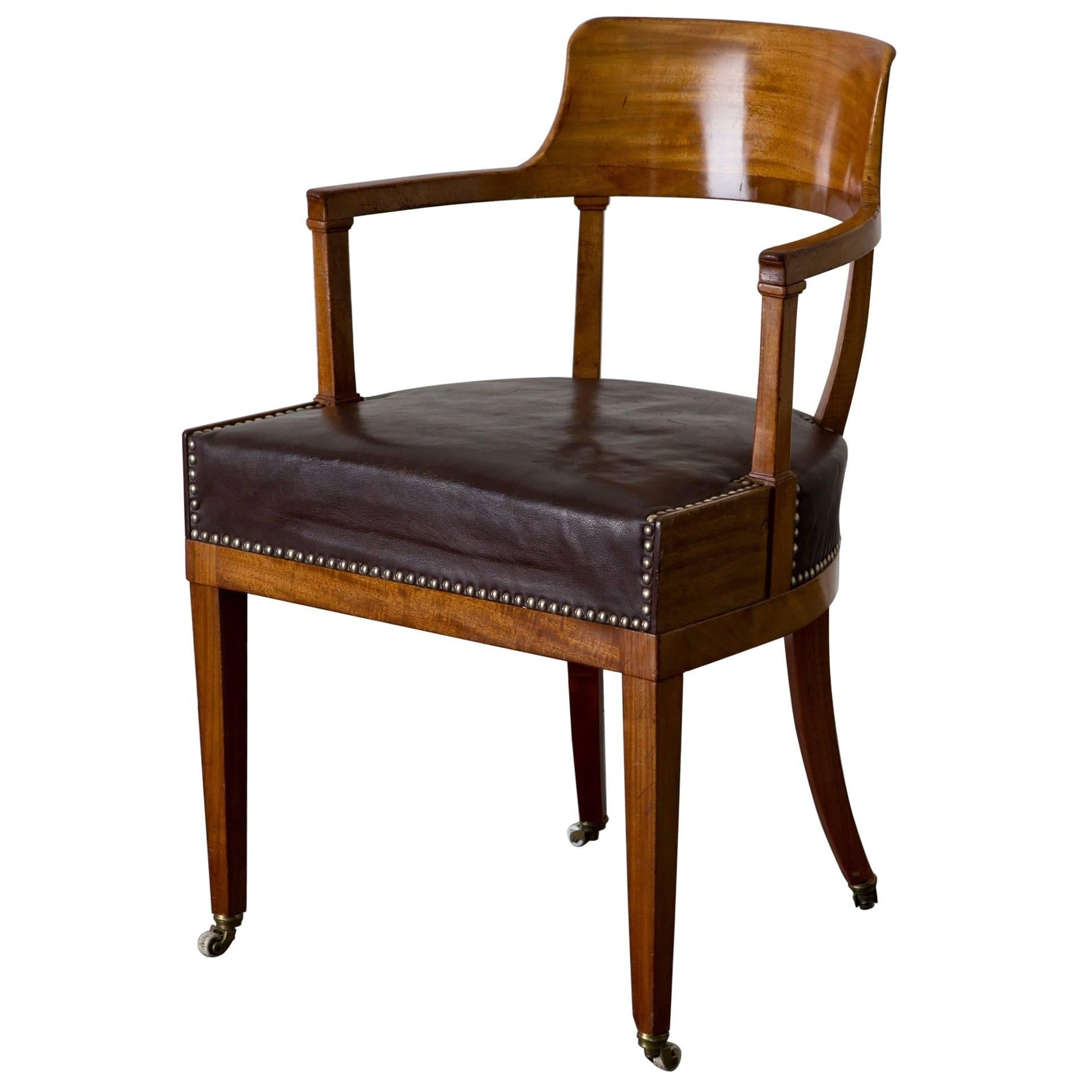 desk chair made large round swivel swedish karl johan empire 19th century sweden for sale