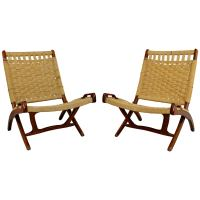 Mid-Century Modern Pair of Rope Cord and Wood Folding ...