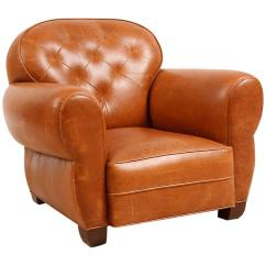 Art Deco Style Club Chairs Office Chair With Back Support Custom Made Buffalo Hide Leather Tufted For Sale