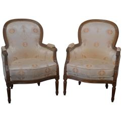 Bergere Chairs For Sale Bench Height Chair Pair Of Louis Xvi Style French At 1stdibs