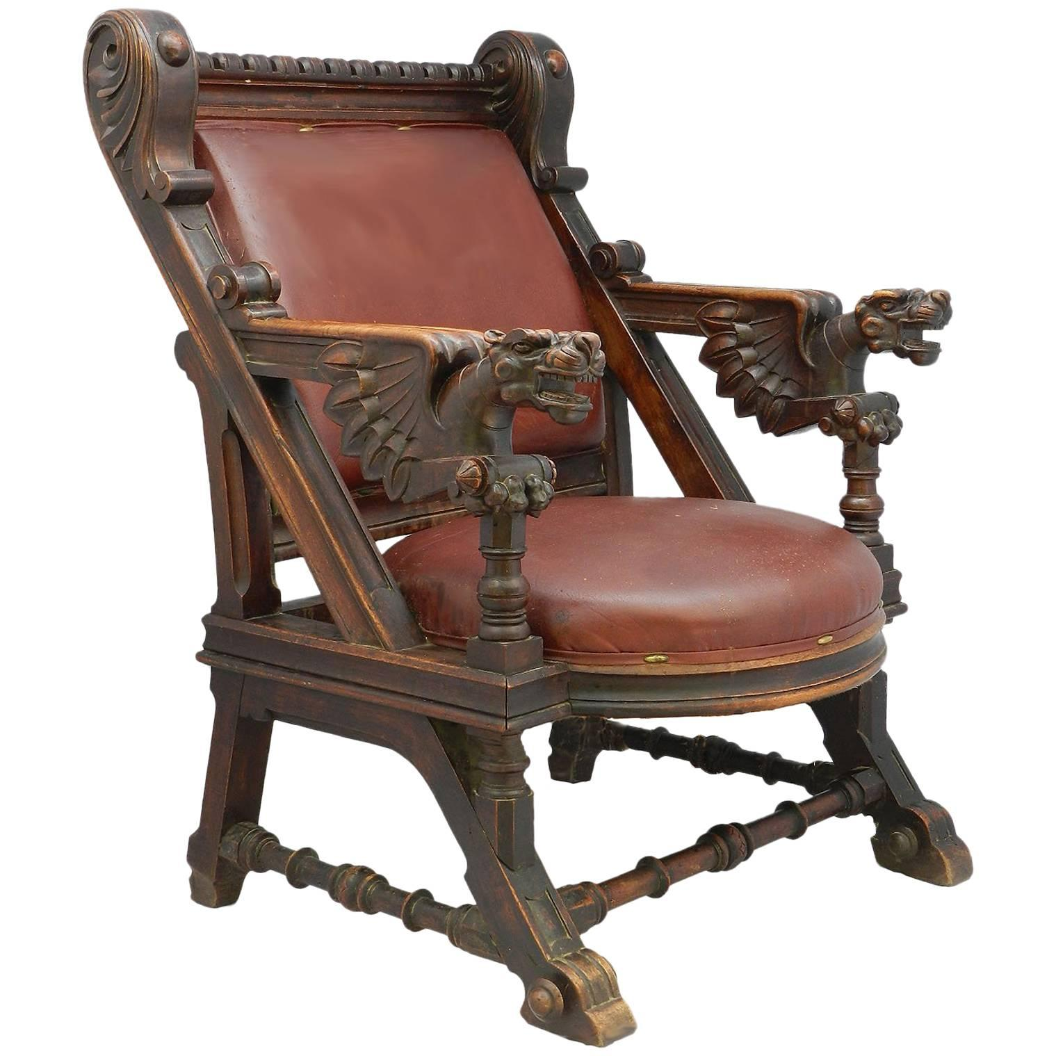 throne office chair jumia desk 19th century renaissance carved dragons spanish leather for sale