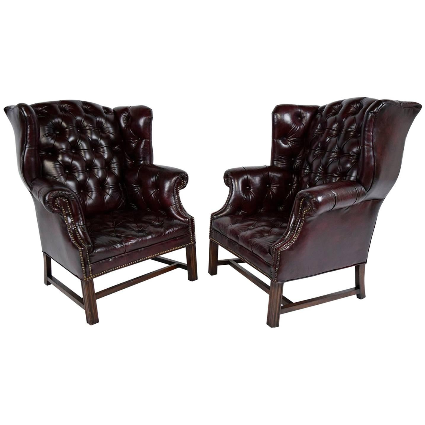 white leather wingback chair little rocking pair of chesterfield tufted chairs for sale at 1stdibs