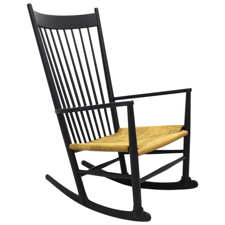 Black Rocking Chair J 16 by Hans Wegner Denmark 1944 For