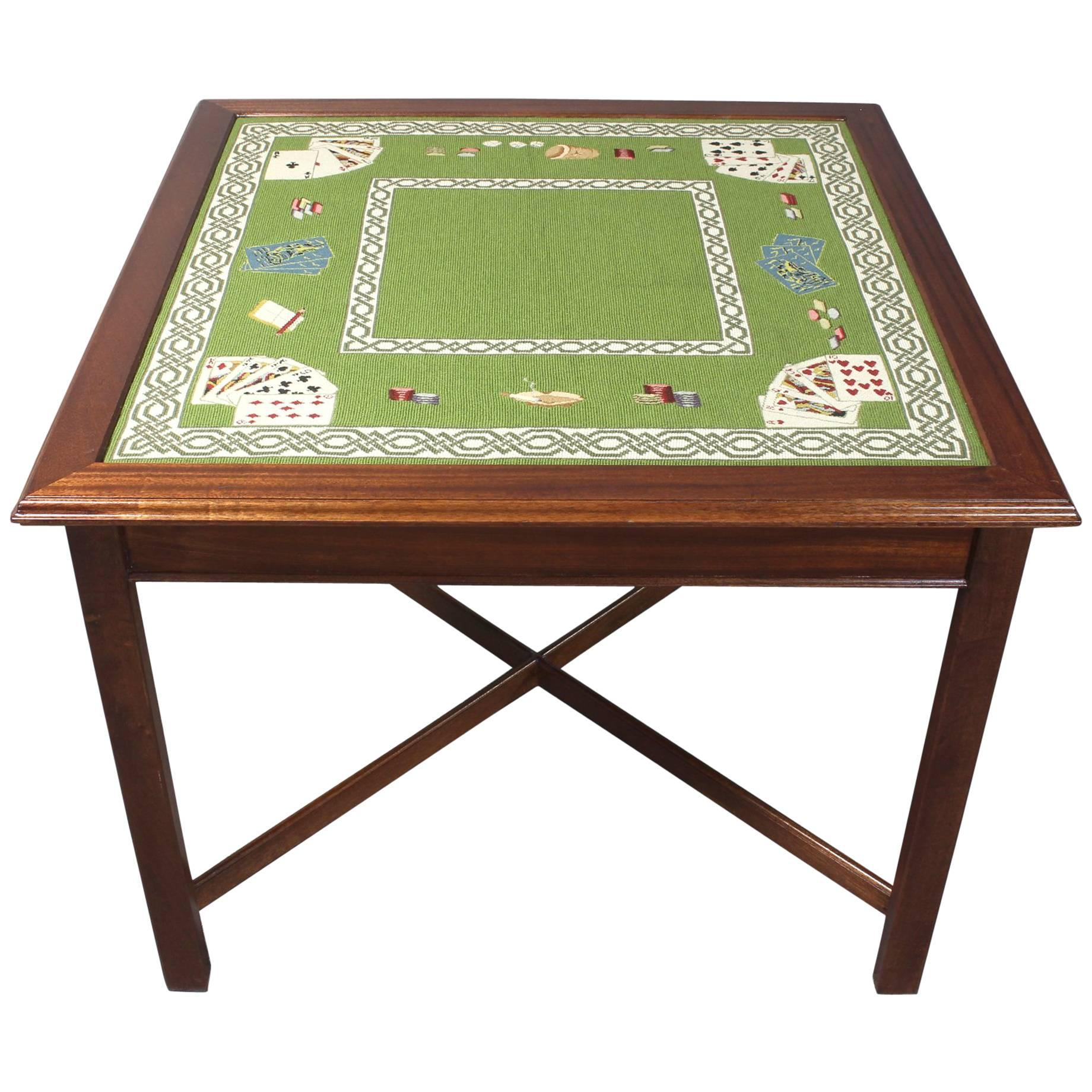 Needlepoint Top Card Table For Sale at 1stdibs