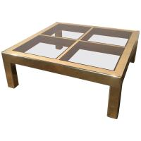 Vintage Mastercraft Coffee Table Brass and Glass at 1stdibs