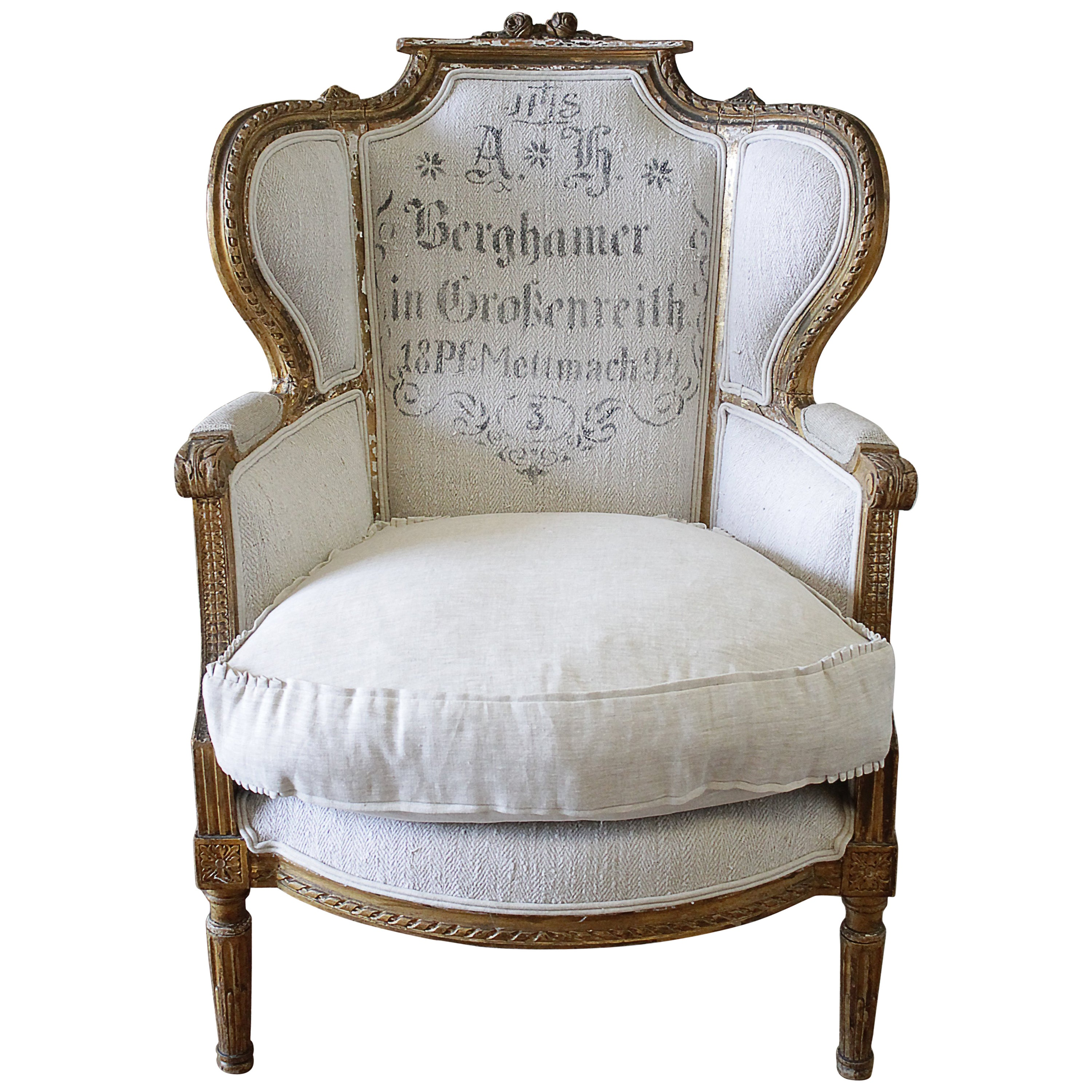 Grain Sack Chair Antique French Louis Xvi Style Wing Chair In Antique Grain Sack Upholstery