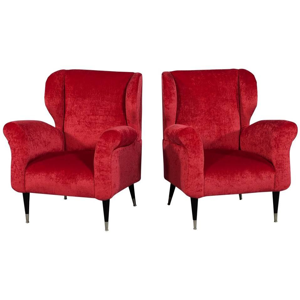 red lounge chair material to cover dining chairs pair of mid century modern plush for sale at 1stdibs