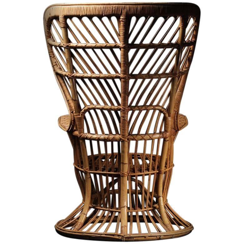 fan back wicker chair barcelona original a mid century italian designed by lio carminati for sale