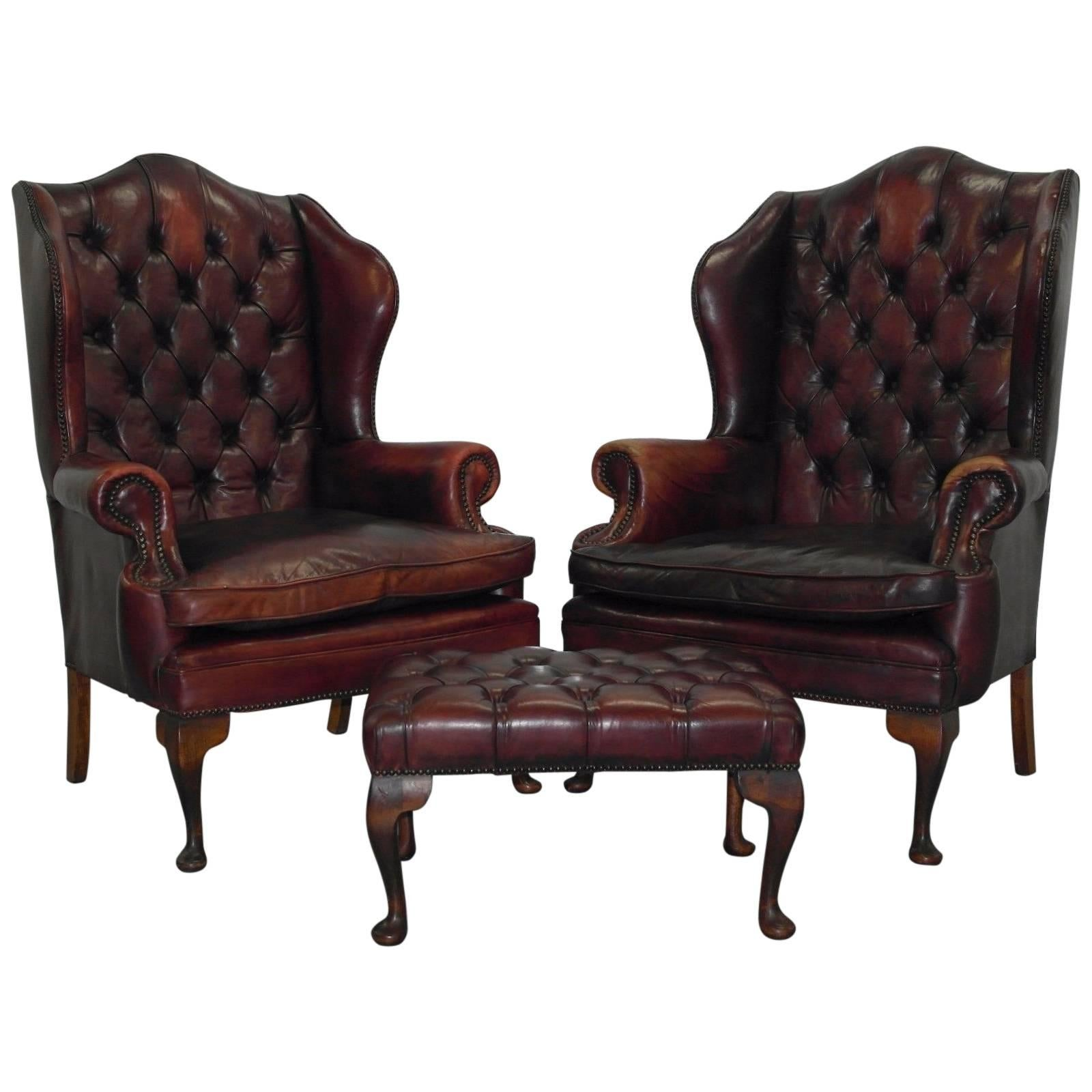 oxblood leather wing chair safavieh dining chairs target pair of chesterfield william morris armchairs with footstool at 1stdibs