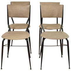 Metal Frame Leather Dining Chair White Fluffy Midcentury Italian And Chairs Set Of Four For Sale