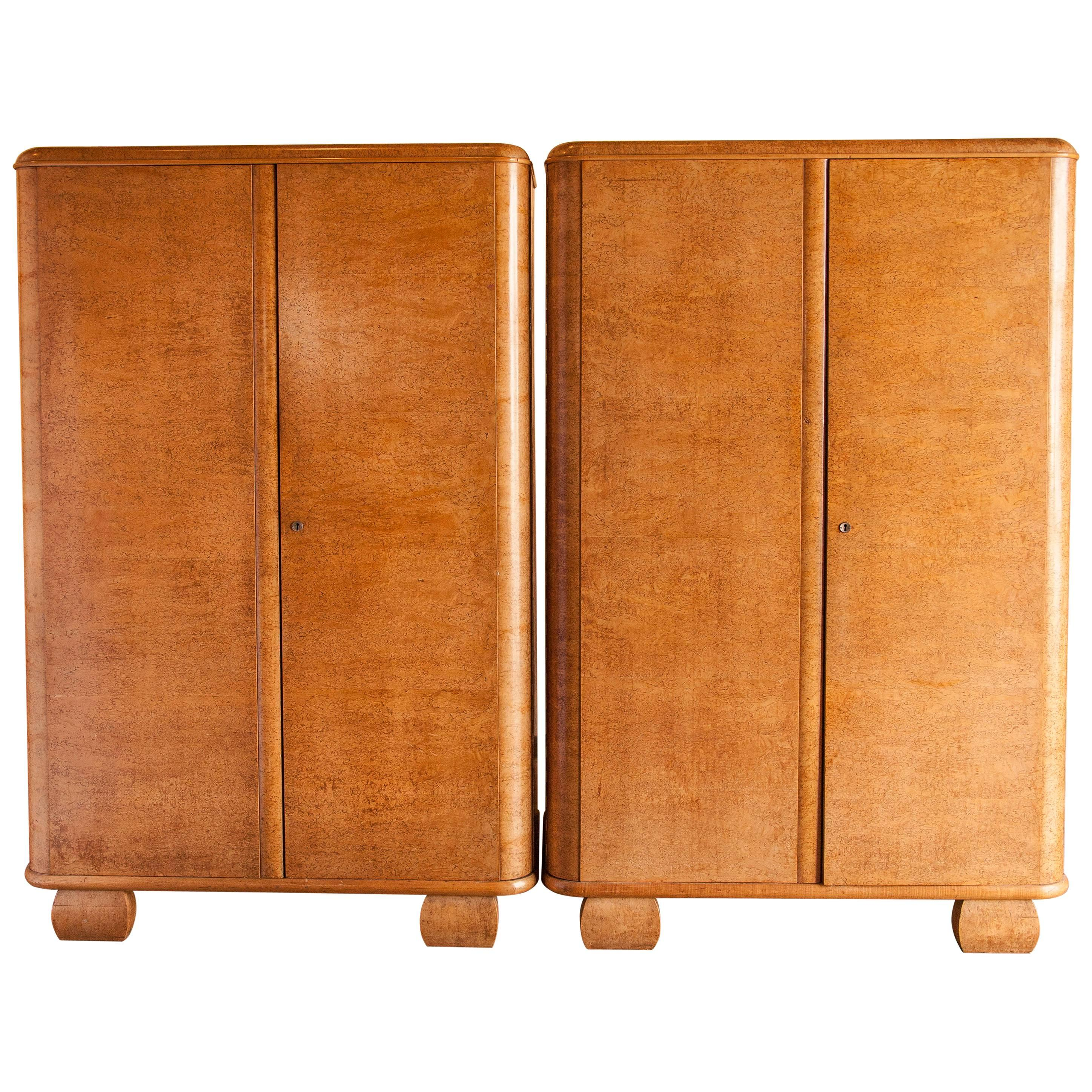 pair of bird s eye maple art deco armoires circa 1940