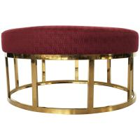 Upholstered Round Ottoman or Coffee Table with Solid Brass ...
