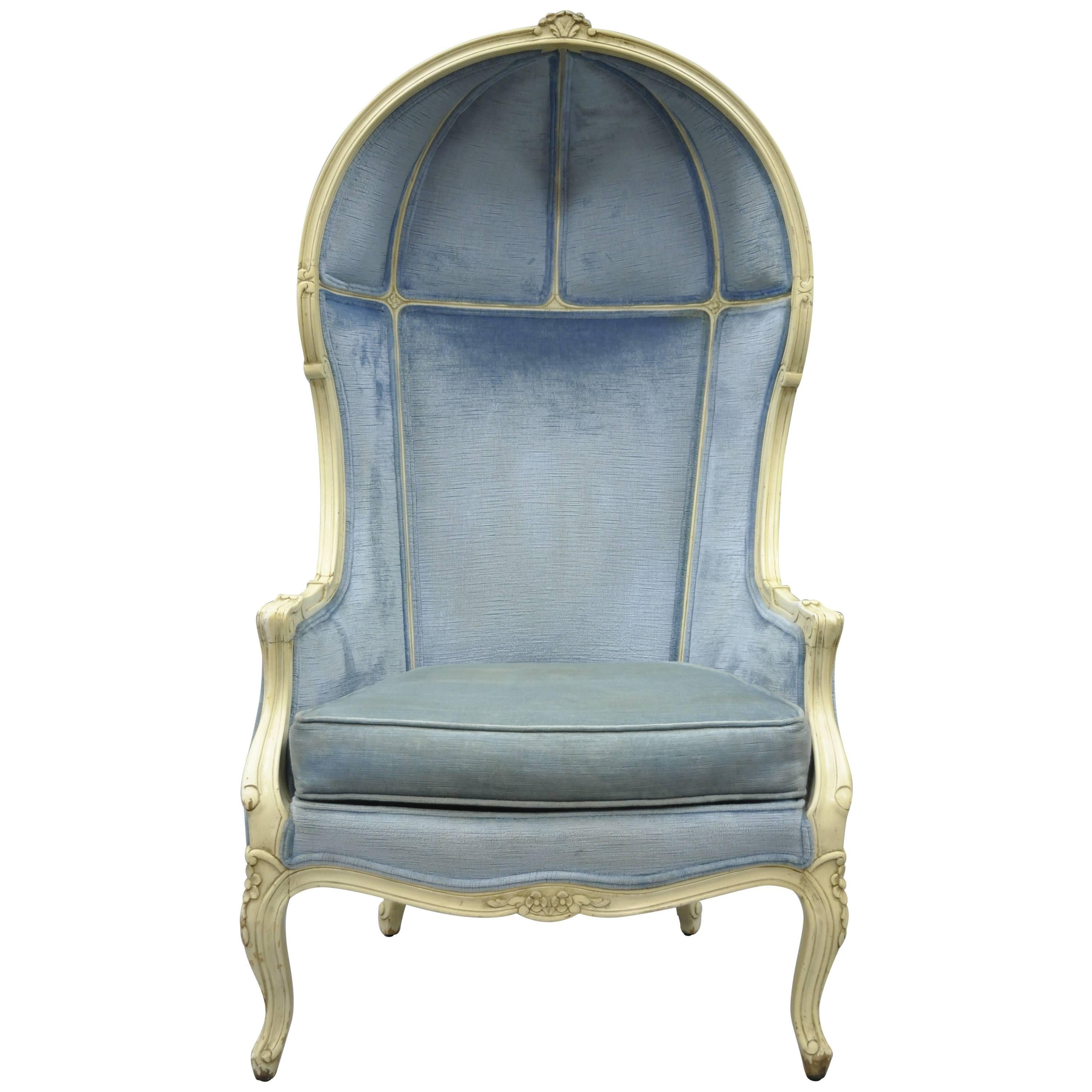 french canopy chair swing dimensions vintage provincial louis xv style upholstered porter hood for sale